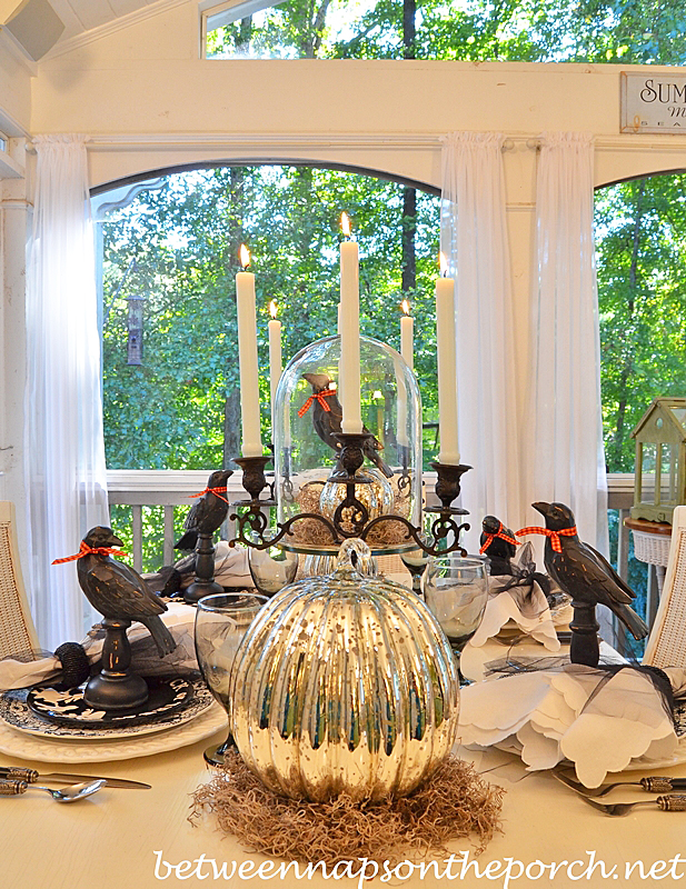 Halloween Table Setting with Mercury Glass Pumpkins