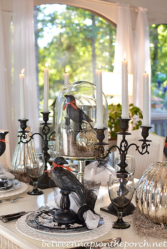 Halloween Table Setting Tablescape With Mercury Glass