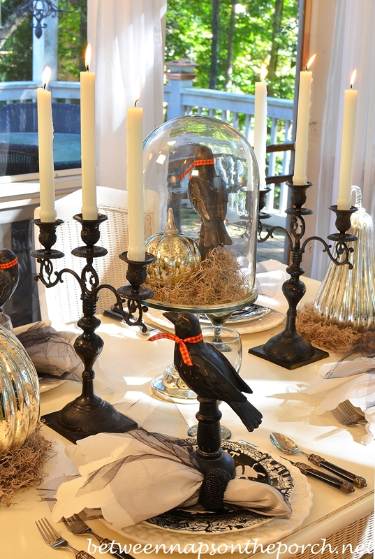 Halloween Tablescape with Black Candelabras