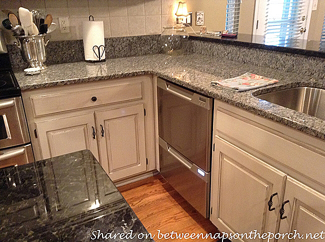 Kitchen Renovated with Painted Cabinets and Granite