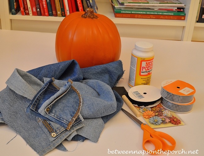 Make a Denim Pumpkin with a Craft Pumpkin