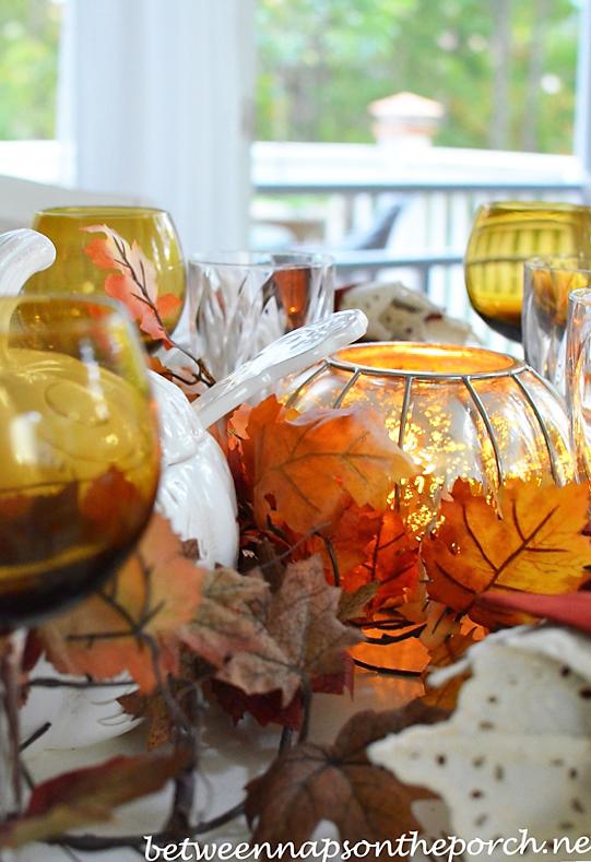 Mercury Glass Pumpkin Lantern Aglow