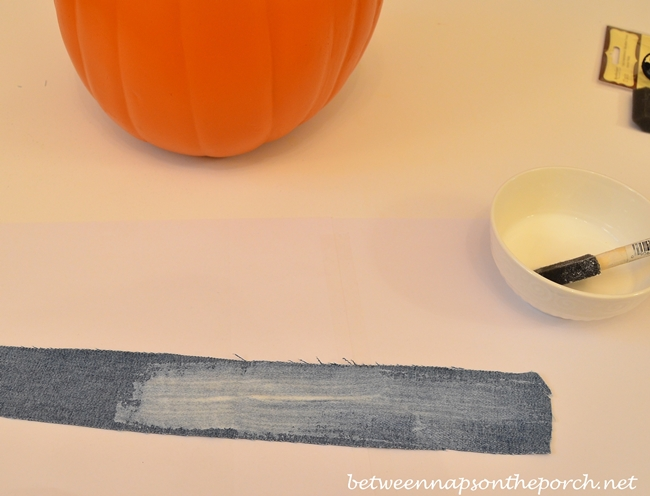 Mod Podge Denim to Make a Denim Pumpkin