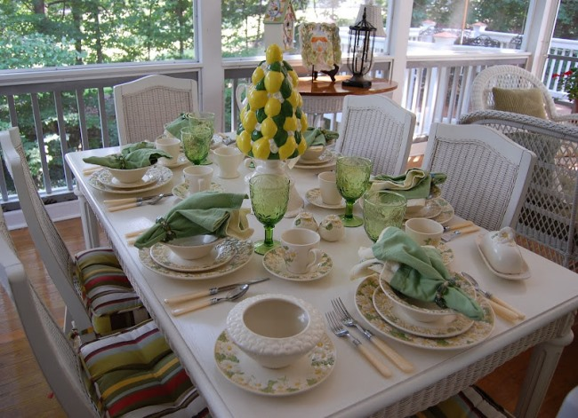 Retro Table Setting with Lemon Tree Centerpiece