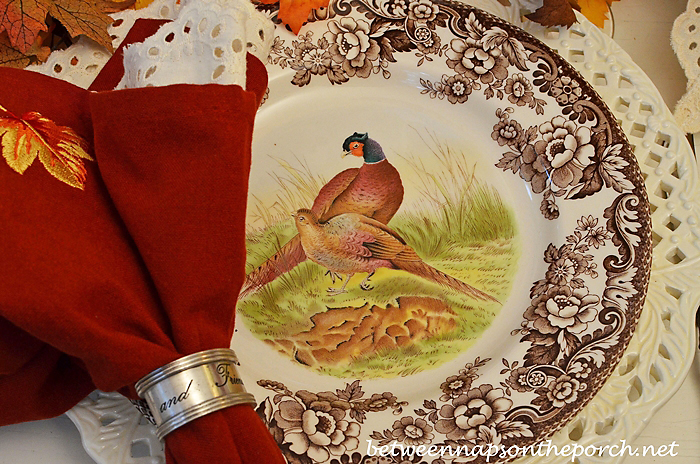 Spode Woodland Dinner Plate in a Fall Table Setting