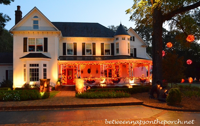 Victorian Home with Exterior Lighting for Halloween