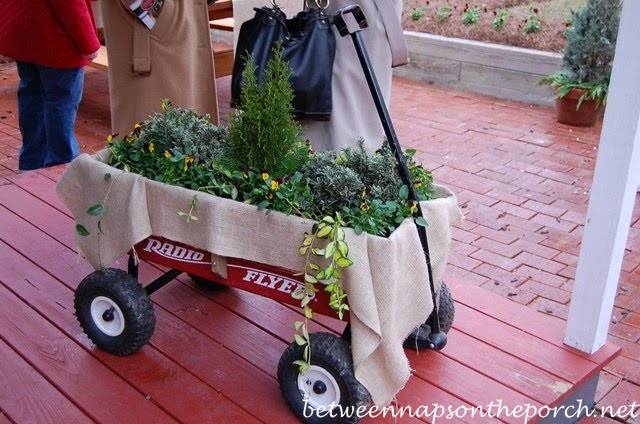 Child's Wagon Decorated for Christmas_wm