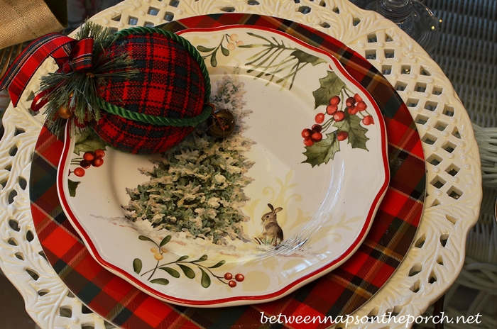 Christmas Table Setting Tablescape with Plaid Dishware and Pierced Chargers