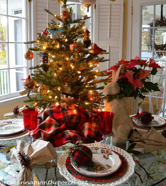 Christmas Table Setting Tablescape with Plaid Dishware and Pierced Chargers & Nature Themed Christmas Table Setting Tablescape