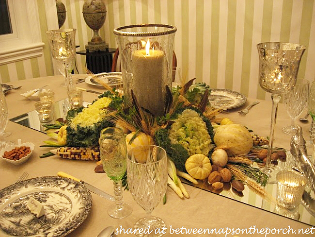 Fall Table Setting in Green and White_wm