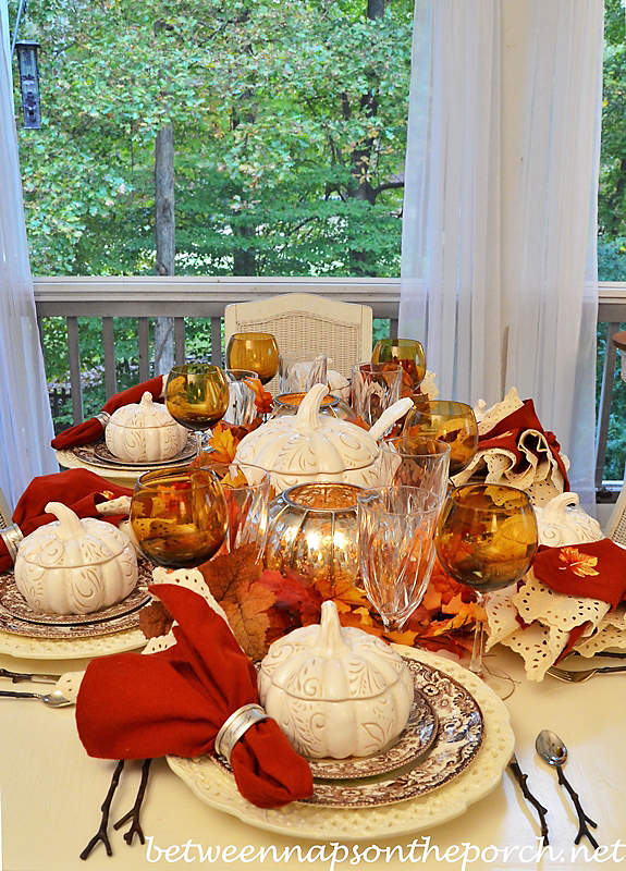 Fall Table Setting with Spode Woodland and Pumpkin Tureens