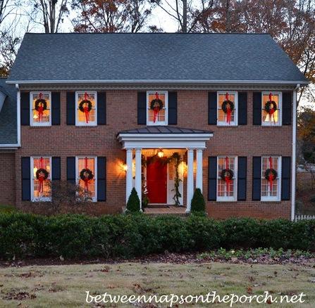 hanging wreaths on windows. Black Bedroom Furniture Sets. Home Design Ideas