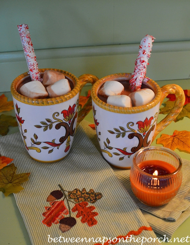 Hot Chocolate with Peppermint Pretzels
