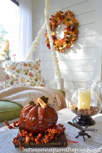 Porch Decorated for Autumn