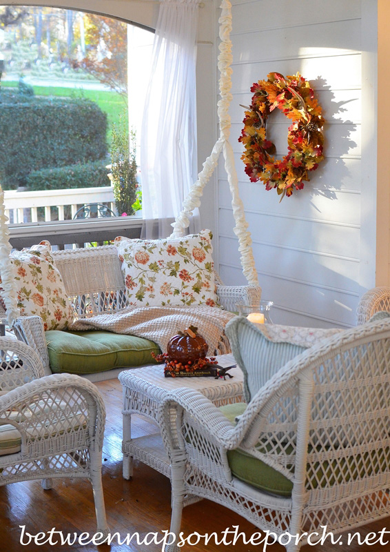 Porch Decorated for Fall and Thanksgiving