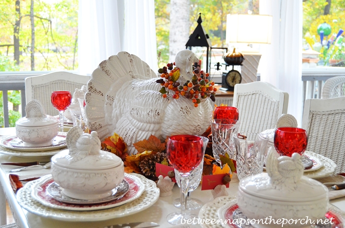 Thanksgiving Table Setting Tablescape with Spode Woodland Copeland Spode Tower Rustic Turkey Centerpiece and & Fall Thanksgiving Table Setting and Tablescape with a Turkey ...