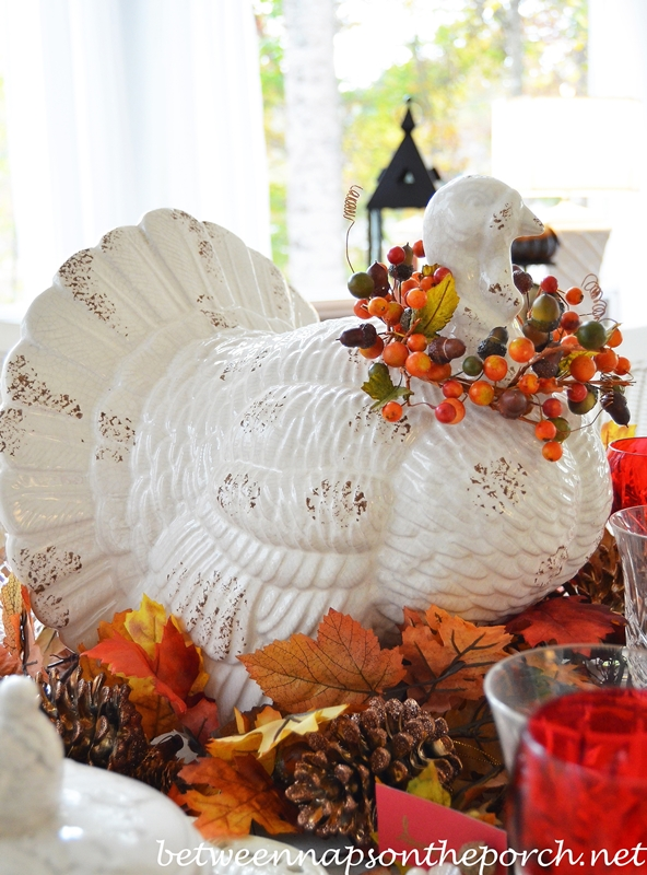 Thanksgiving Table Setting Tablescape with Spode Woodland, Copeland Spode Tower, Rustic Turkey Centerpiece and Turkey Tureens 12_wm
