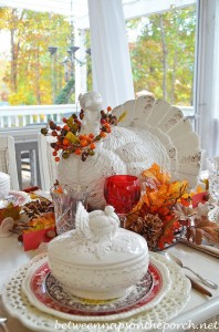 Thanksgiving Table Setting Tablescape with Spode Woodland, Copeland Spode Tower, Rustic Turkey Centerpiece and Turkey Tureens