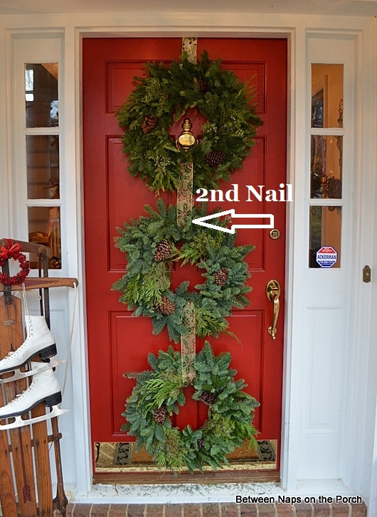 Triple Wreaths on Front Door 3