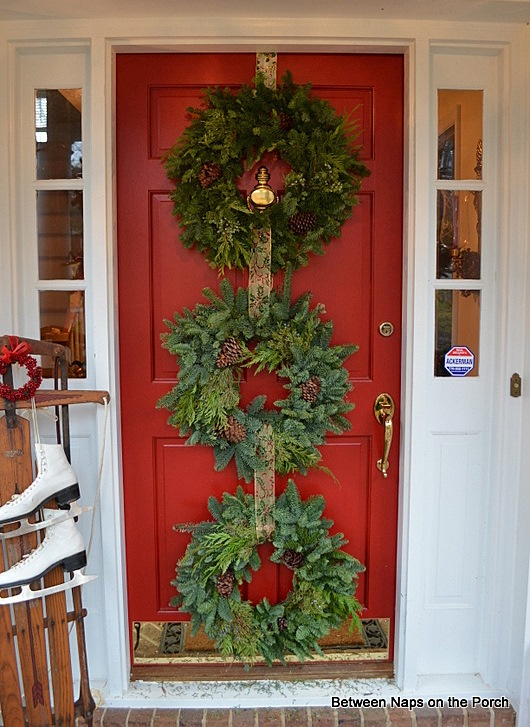 Triple Wreaths on Front Door