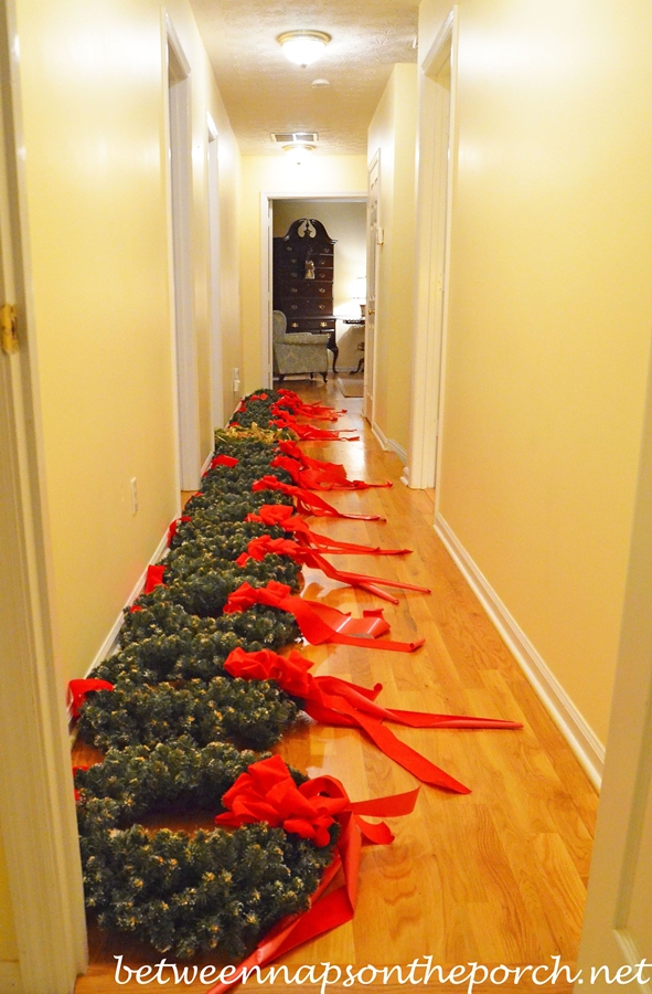 Wreaths Ready to Hang on Exterior Windows