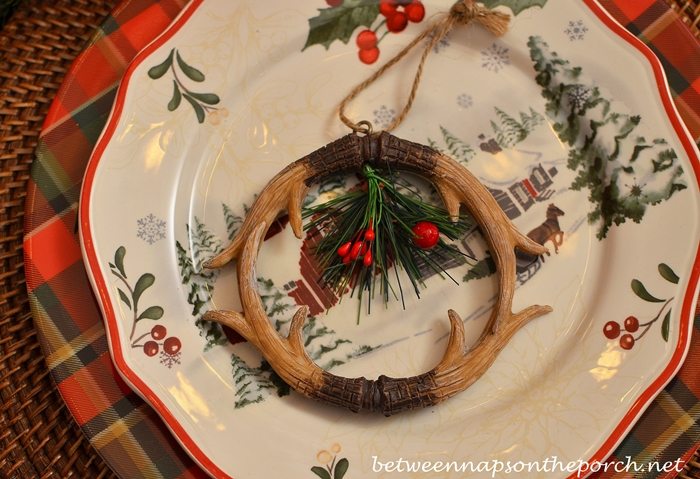 Antler Ornament Napkin Ring & Christmas Table Setting Tablescape with Plaid Plates and a Natural ...