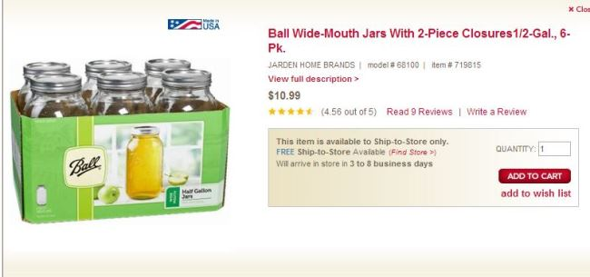 Ball Mason Jar, Half Gallon Wide Mouth