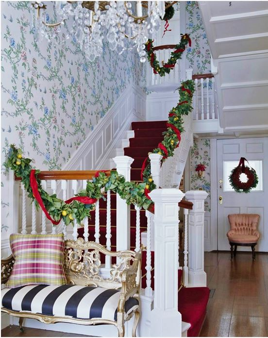 Banister Decorated for Christmas in an Historic Home