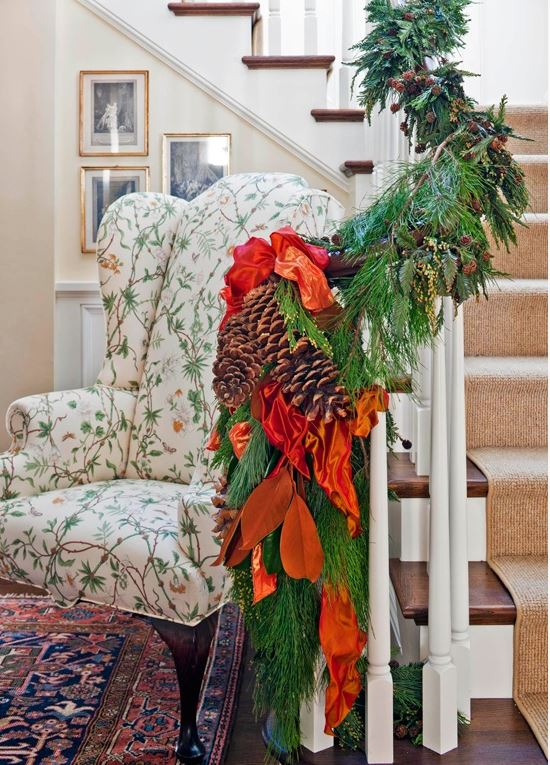 Beautiful Banister Decorated with Garland and Ribbon for Christmas Holidays
