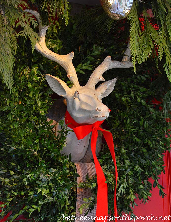 Boxwood Wreath for a Christmas Door with Deer Head