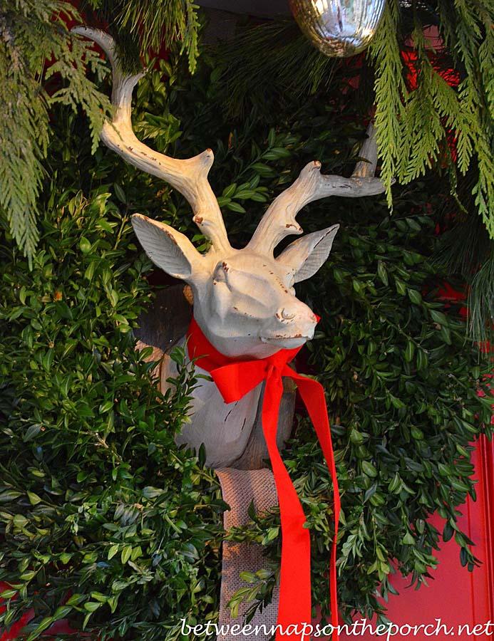 Boxwood Wreath for a Christmas Door with Deer Head