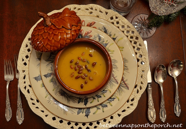 Butternut Squash Soup, Garnished with Roasted Pumpkin Seeds