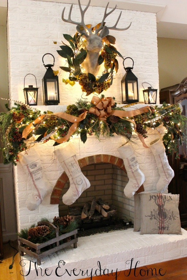 Christmas Mantel with Faux Deer Head, Lanterns and