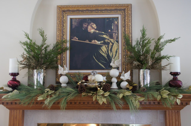 Christmas Mantel with Flameless Candles, Mercury Glass, White Doves and Greenery