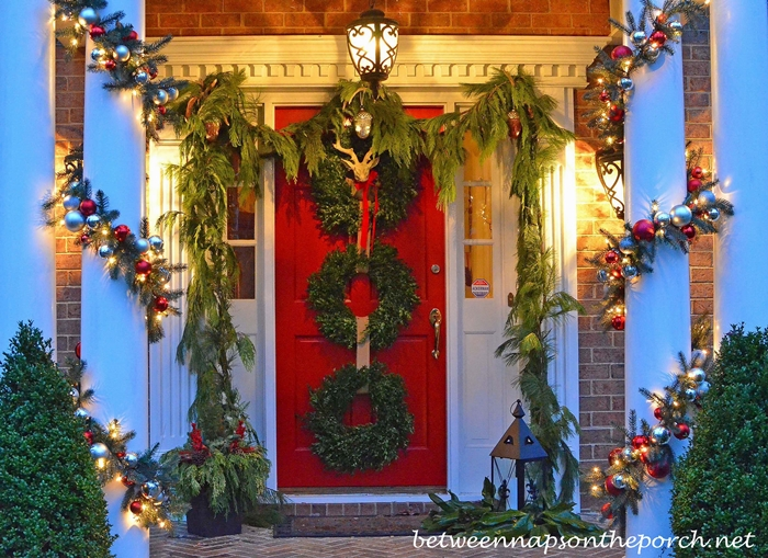 Christmas Porch Decorated with Pottery Barn Inspired Garland_wm