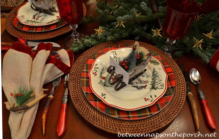 Christmas Table Scape Table Setting with Sleigh Place Cards