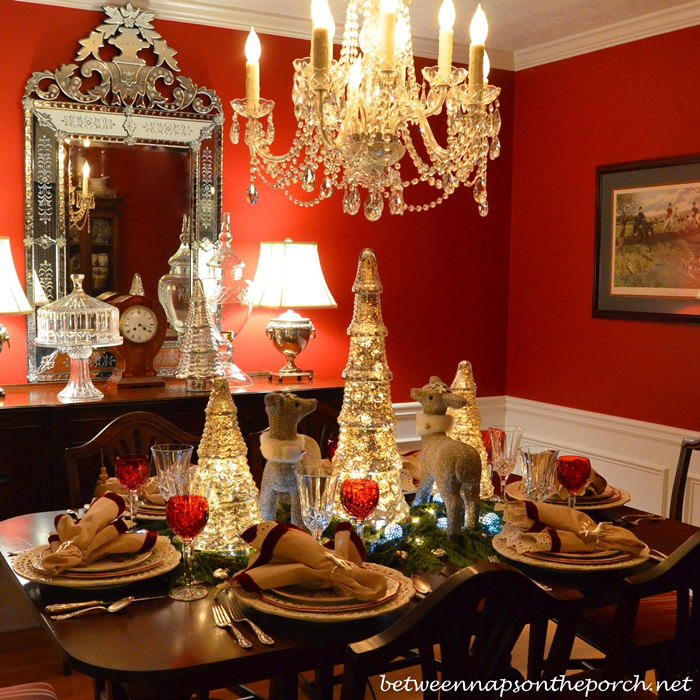 Christmas Table Setting Tablescape with Mercury Glass Trees and Silver Glitter Deer
