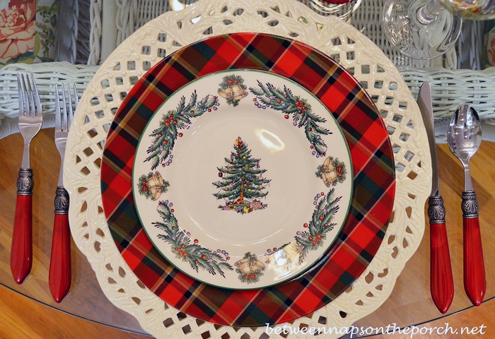 Christmas Table Setting Tablescape with Plaid Dishes and Spode Christmas Tree Garland
