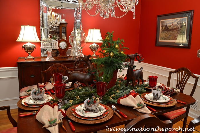 Christmas Table Setting Tablescape with Sleigh Centerpiece_wm