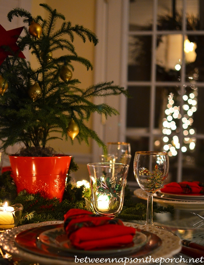 Christmas Table Setting by Candlelight