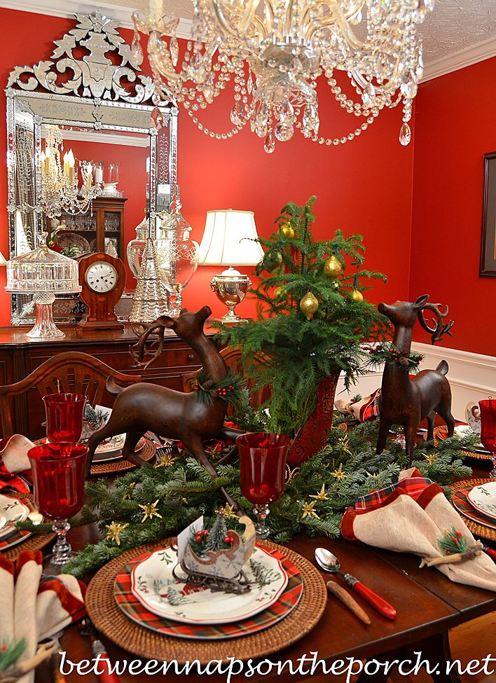 Christmas Table Setting with Better Homes and Garden Dishware & Christmas Table Setting Tablescape with Plaid Plates and a Natural ...