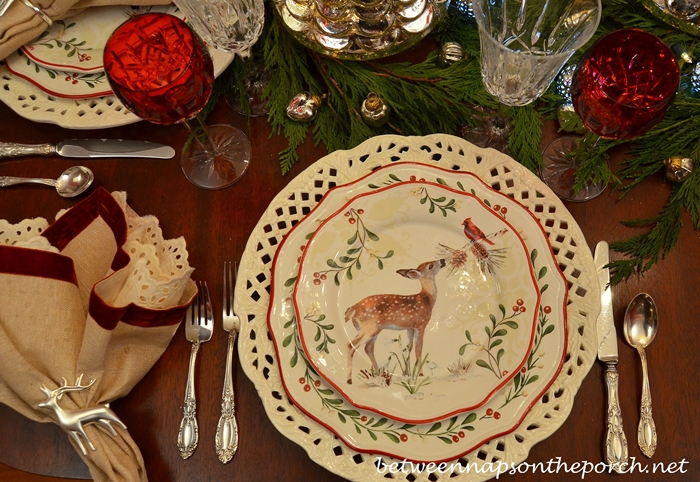 Christmas Table Setting with Deer Salad Plates
