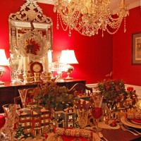 Christmas Table Setting with Dept. 56 Lit Houses