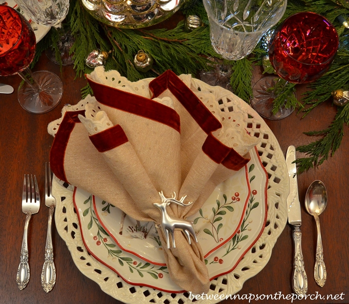 Christmas Table Setting with Glitter Deer and Mercury Glass Christmas Trees
