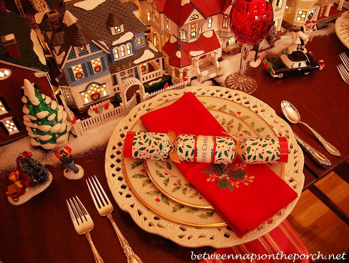 Christmas Table Setting with Lenox Holiday China and Dept. 56 Lit Houses Centerpiece