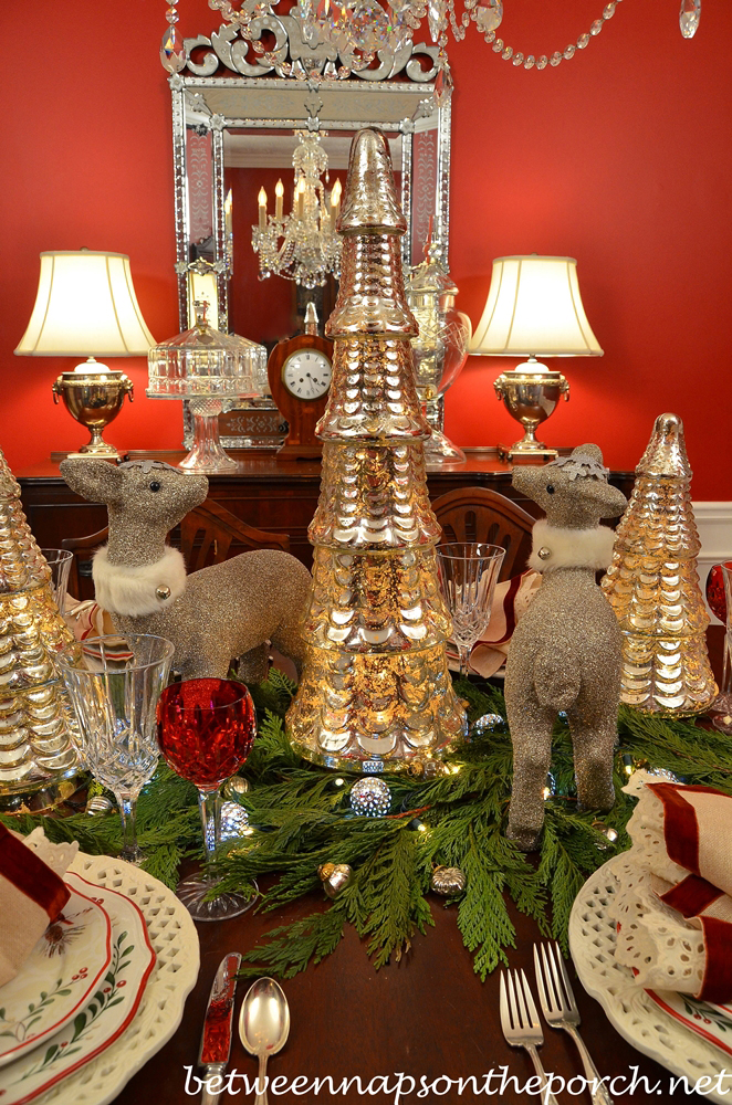 Christmas Table Setting with Mercury Glass Trees and Cedar Garland