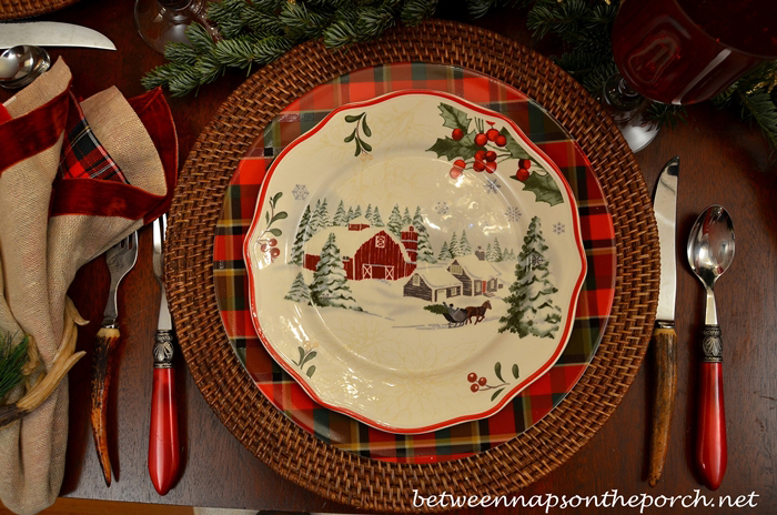 Christmas Table Setting with Plaid Plates and Antler Flatware_wm
