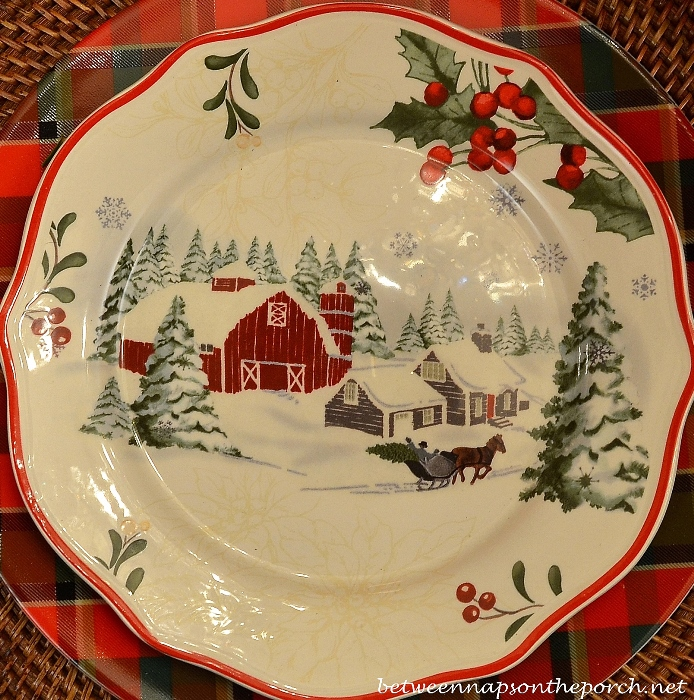 Christmas Table Setting with Plaid Plates