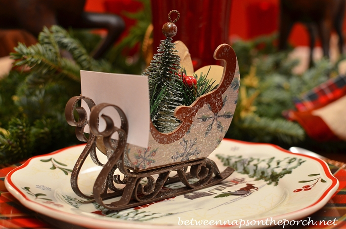 Christmas Table Setting with Sleigh Place Cards