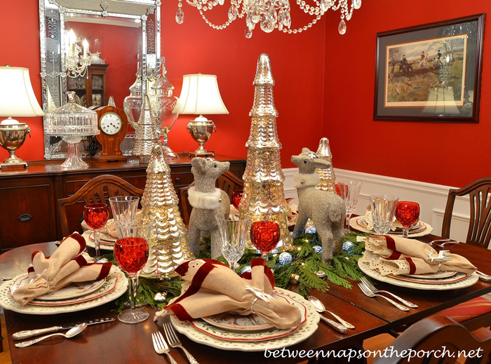 Christmas Tablescape with Cedar Garland, Glitter Deer and Mercury Glass Christmas Trees